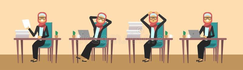 Empresaria árabe que se sienta en el escritorio de oficina en diversas actitudes, concepto de trabajo duro del proceso de la muje stock de ilustración
