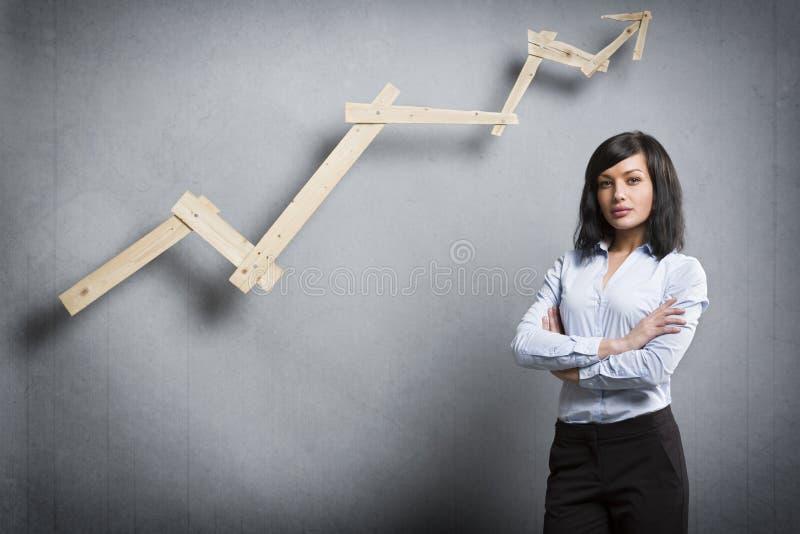 Empresaria acertada confiada delante de la carta positiva de la tendencia fotografía de archivo