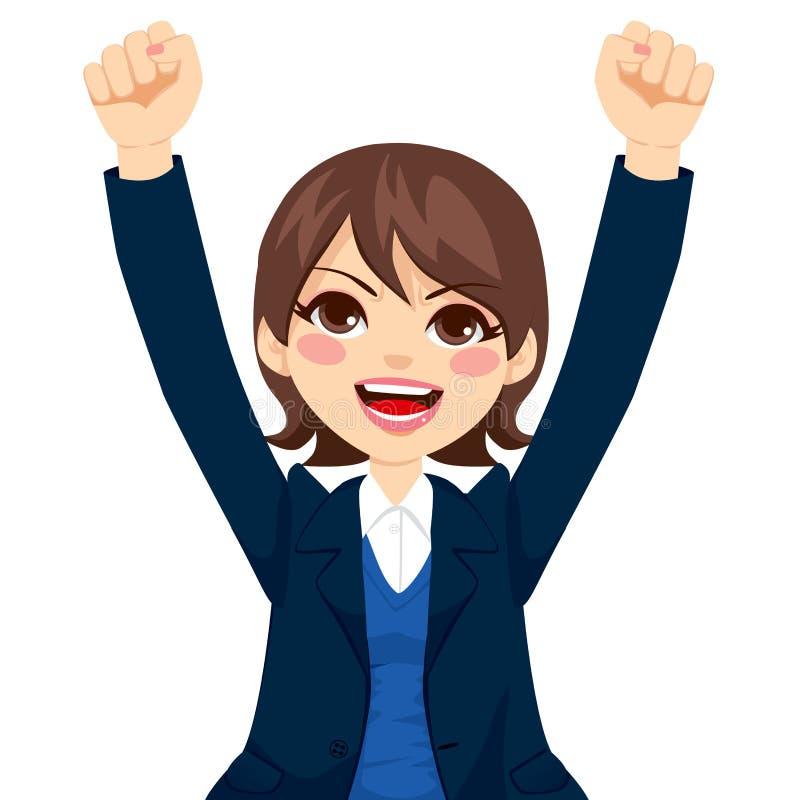 Empresaria acertada feliz stock de ilustración