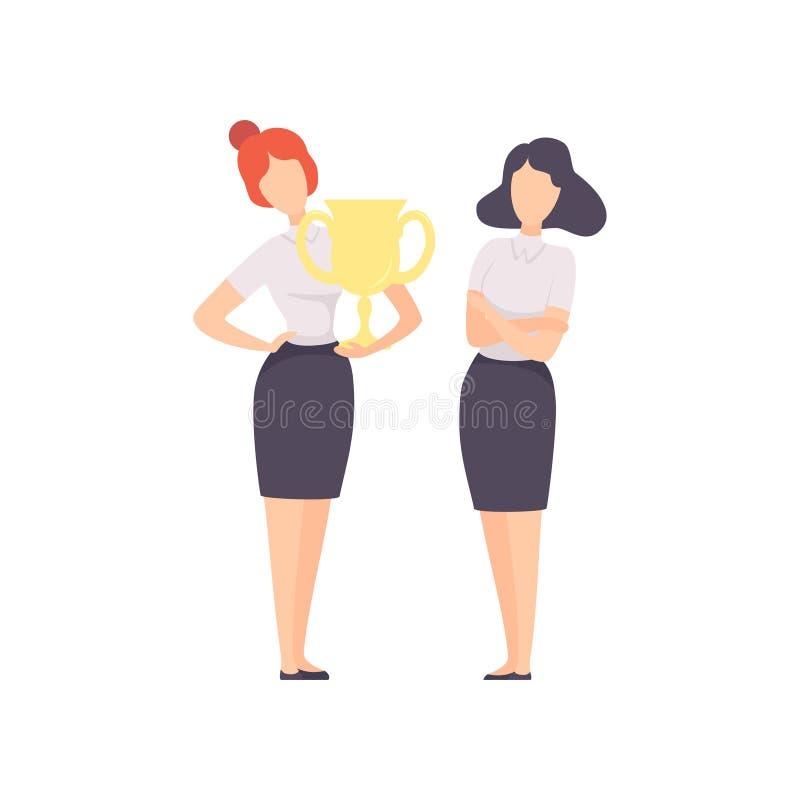 Empresaria acertada Standing con la taza del ganador, Team Leader Competition, colega envidioso que envidia su ?xito libre illustration