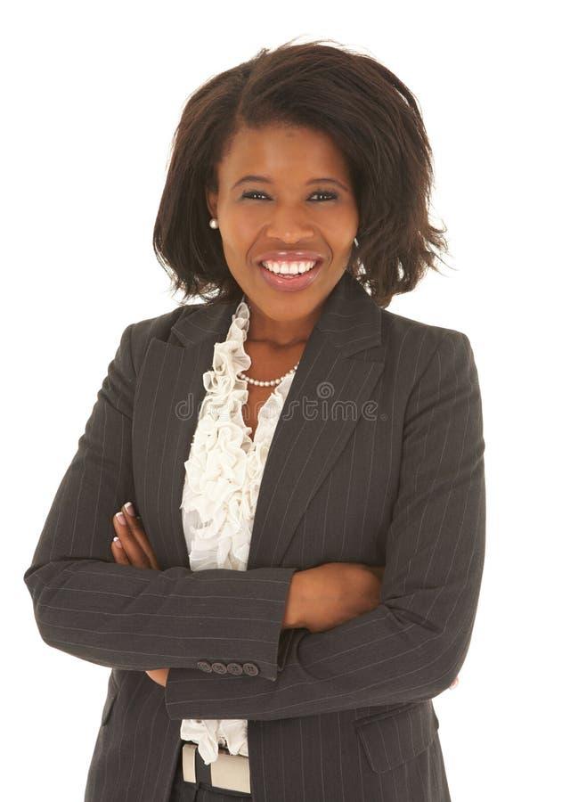 Empresaria africana atractiva imagen de archivo