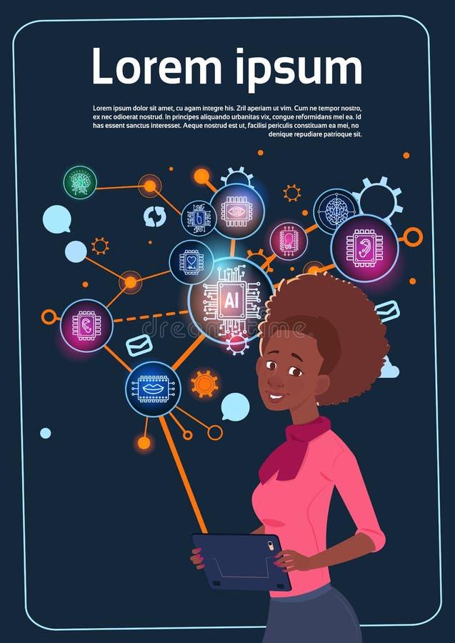 Empresaria afroamericana Holding Presentation Stand sobre la pantalla de Digitaces con las cartas y el gráfico Infographics ilustración del vector