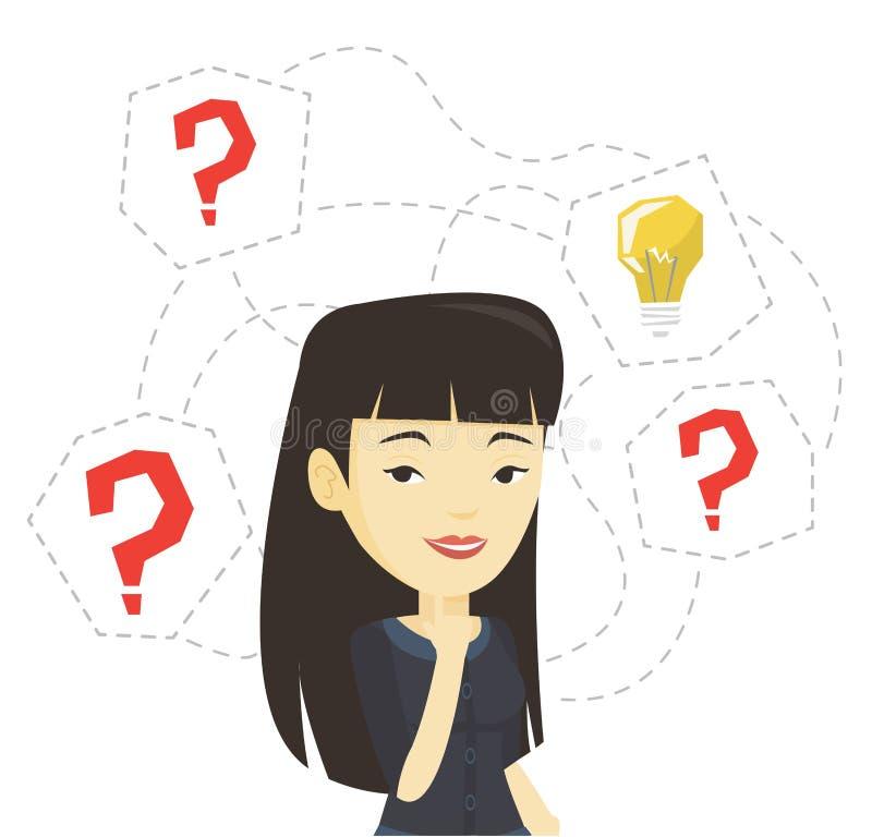 Empresaria asiática que tiene idea del negocio stock de ilustración