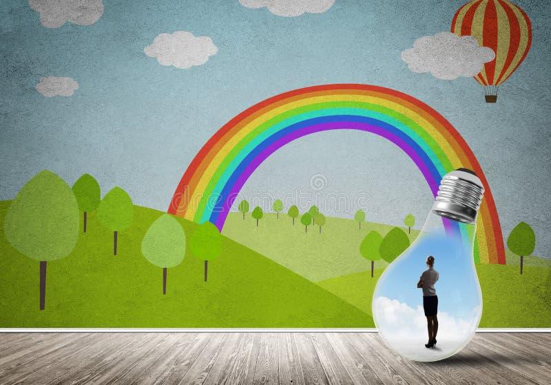 Empresaria atrapada en bulbo stock de ilustración