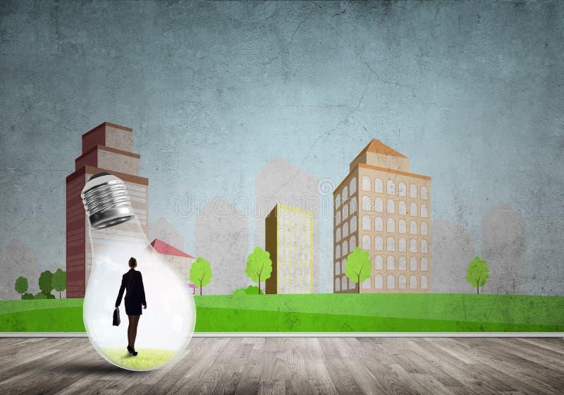 Empresaria atrapada en bulbo ilustración del vector