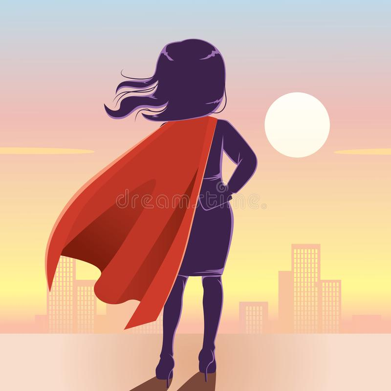 Empresaria Back del superhéroe ilustración del vector