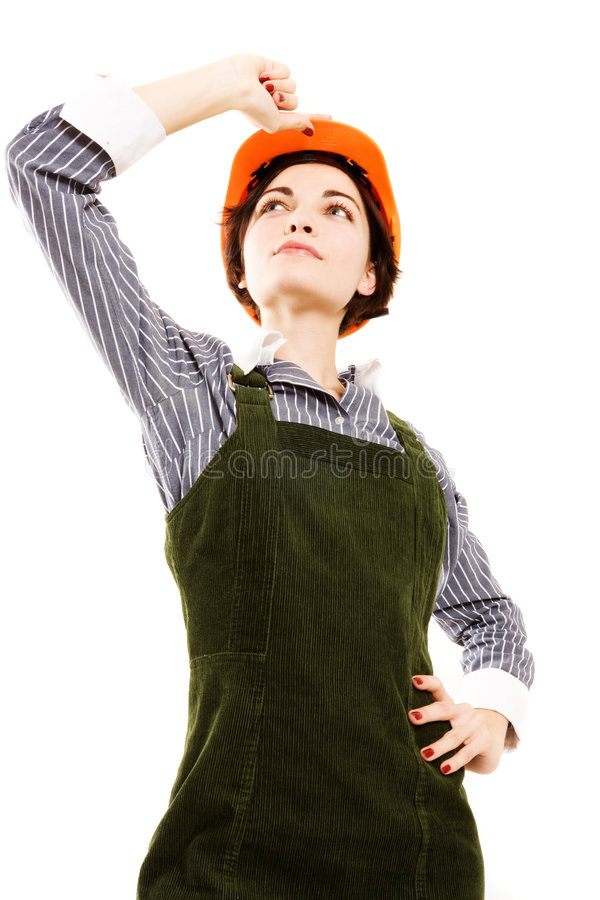 Empresaria bonita con el casco. foto de archivo libre de regalías