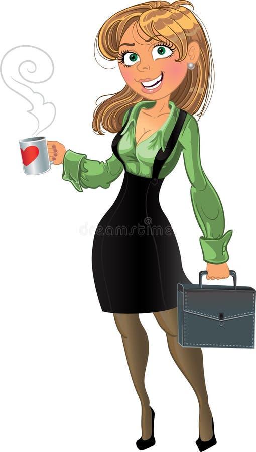 Empresaria bonita con la taza y la cartera stock de ilustración