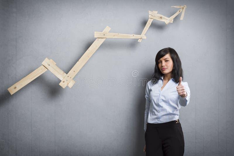 Empresaria bonita que sostiene el pulgar para arriba delante de la carta de negocio positiva foto de archivo libre de regalías