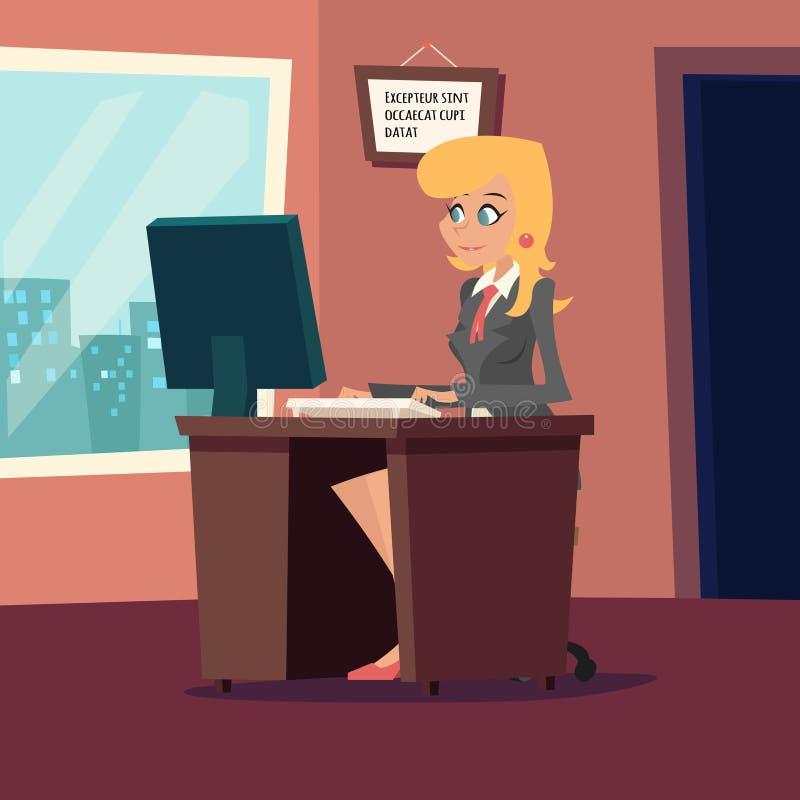 Empresaria Character en el escritorio que trabaja encendido libre illustration