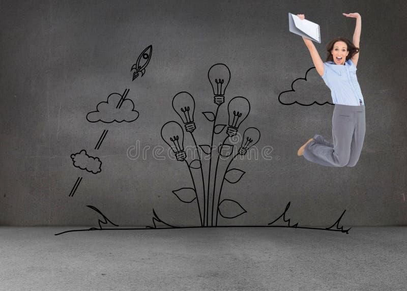 Empresaria con clase feliz que salta mientras que sostiene el tablero imagenes de archivo