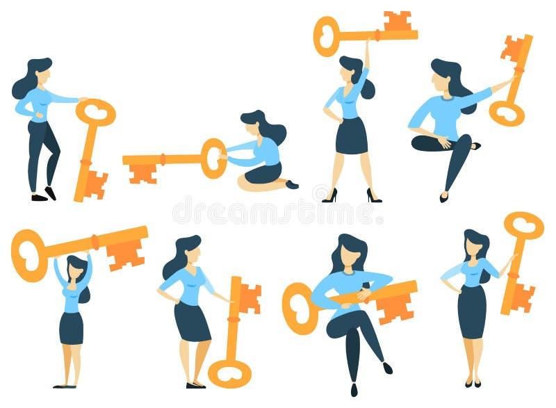 Empresaria con clave ilustración del vector
