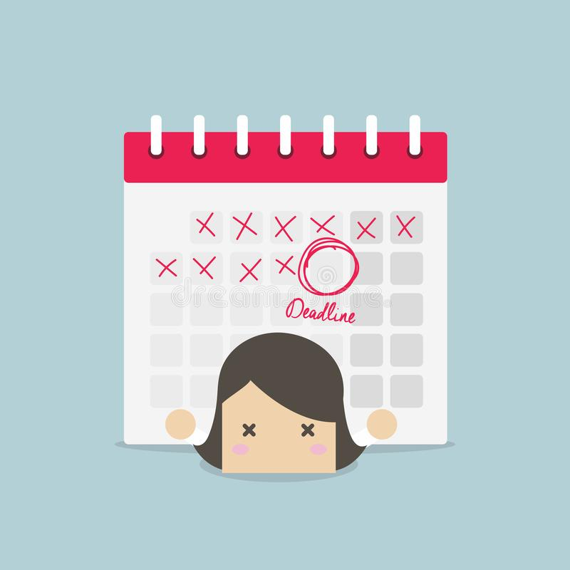 Empresaria con el calendario sobre el suyo detrás Trabajo duro y concepto del plazo stock de ilustración