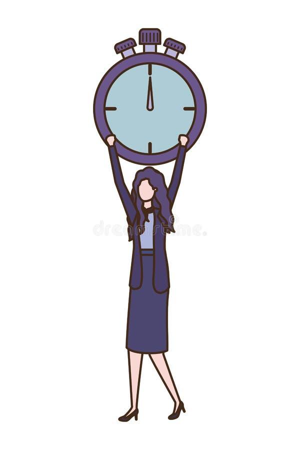 Empresaria con el carácter del avatar del reloj libre illustration