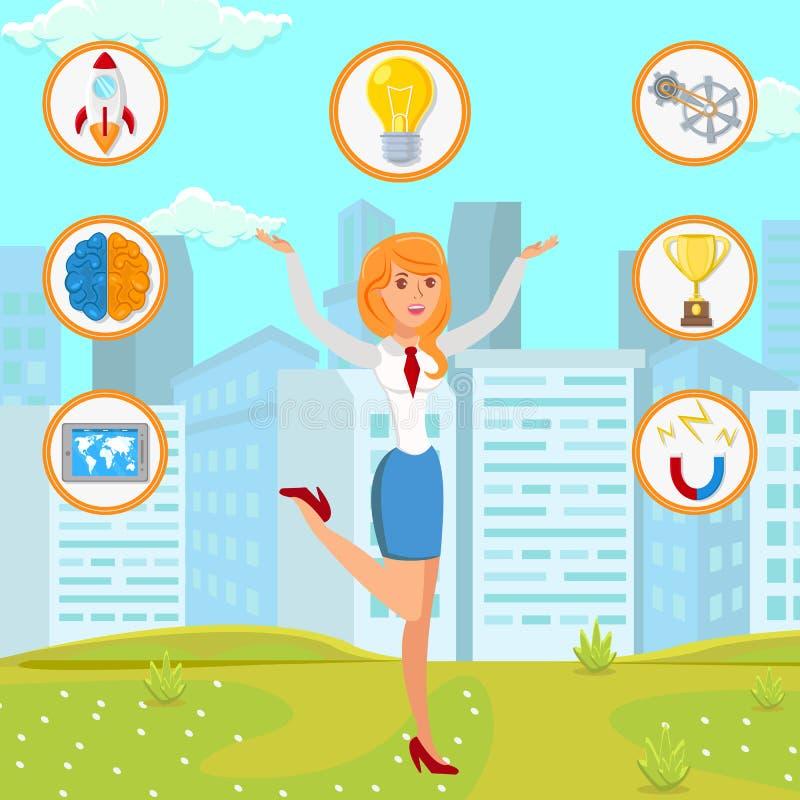 Empresaria con el ejemplo plano de la idea de lanzamiento libre illustration