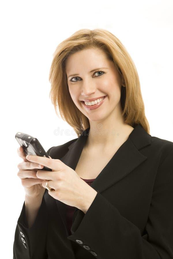 Empresaria con el teléfono fotos de archivo libres de regalías