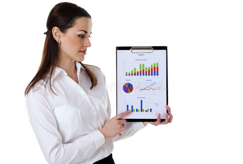 Empresaria con informe imagen de archivo libre de regalías