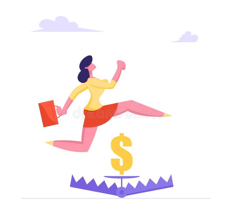 Empresaria con la cartera que salta sobre trampa del oso con la muestra del dólar de oro dentro, concepto de la gestión de riesgo ilustración del vector