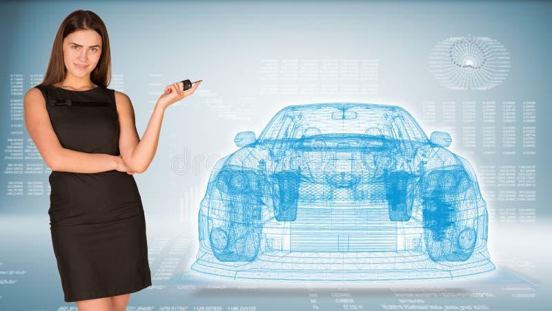 Empresaria con llave y el coche del marco del alambre libre illustration