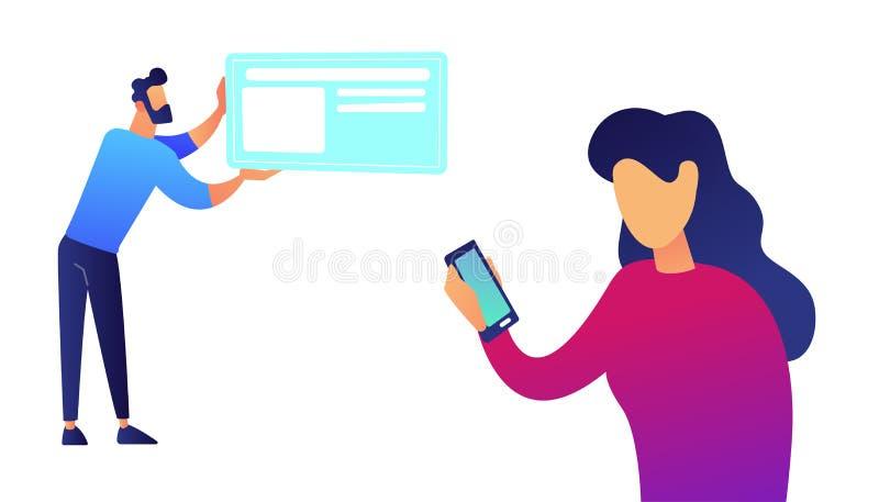 Empresaria con samrtphone y hombre de negocios con el ejemplo del vector de la tarjeta libre illustration
