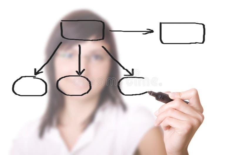 Empresaria con un diagrama vacío foto de archivo