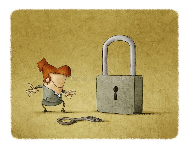 Empresaria con una llave y un candado libre illustration