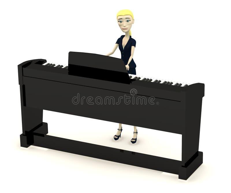 Empresaria de la historieta que juega en piano digital ilustración del vector