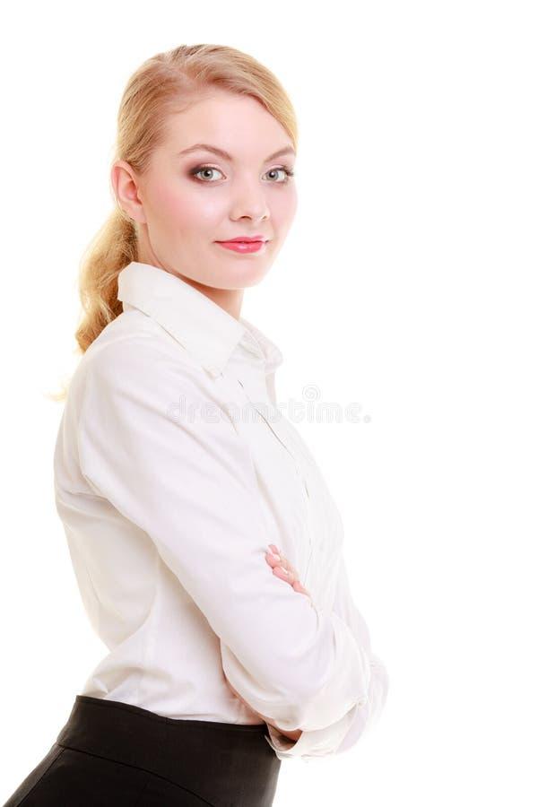 Empresaria del retrato. Muchacha rubia elegante de la mujer joven aislada. imagen de archivo libre de regalías