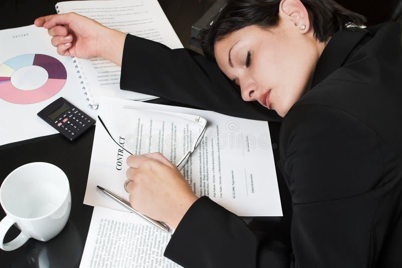 Empresaria durmiente fotografía de archivo