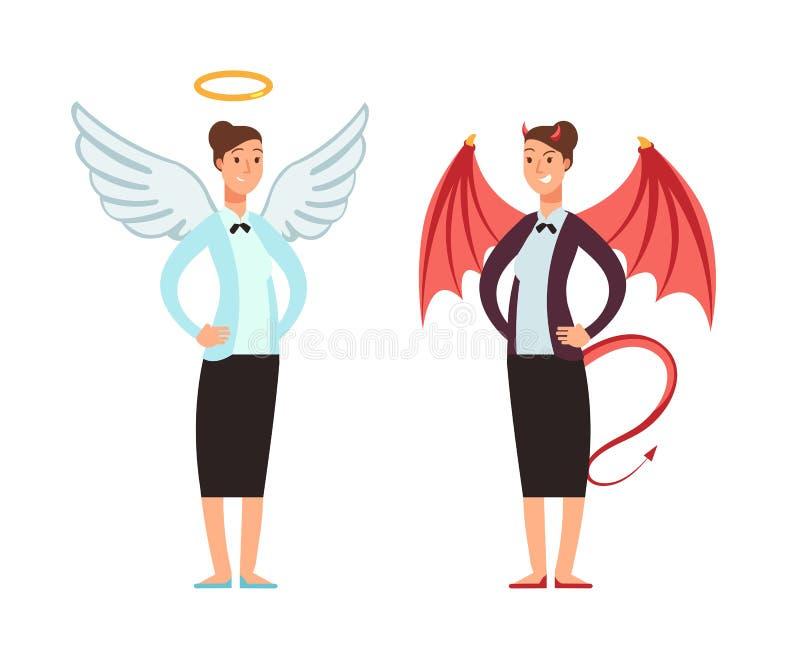 Empresaria en ángel y traje del diablo Buen y mún personaje de dibujos animados del vector de la mujer stock de ilustración