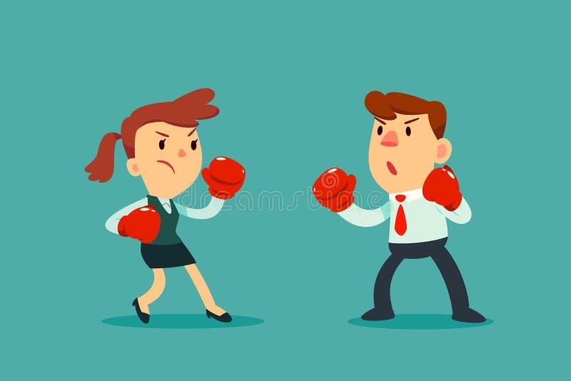 Empresaria en guantes de boxeo que lucha contra hombre de negocios stock de ilustración