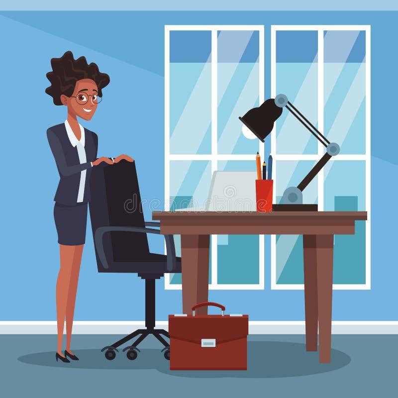 Empresaria en la oficina libre illustration