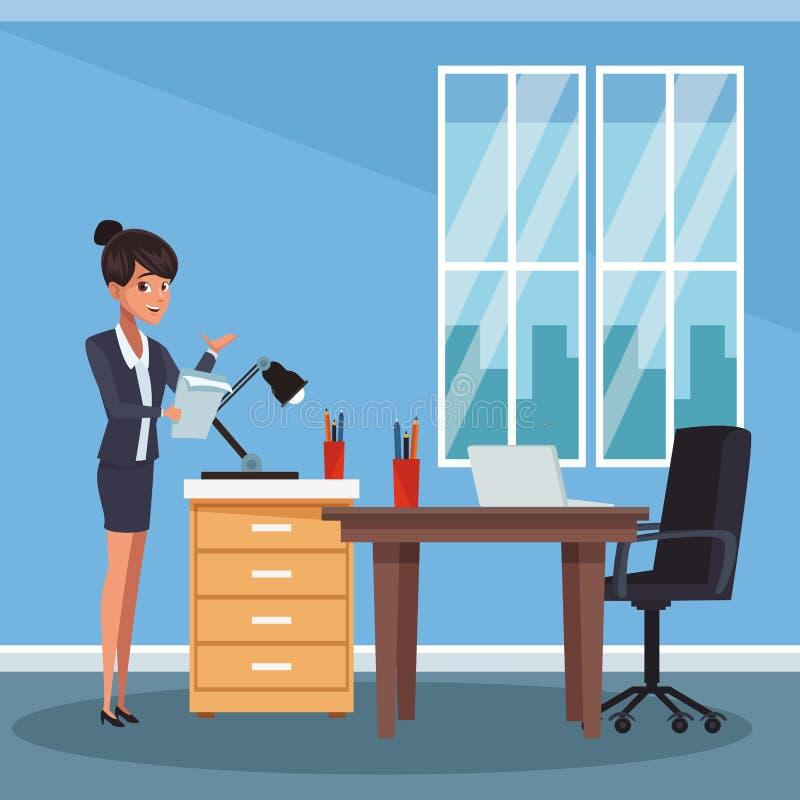 Empresaria en la oficina stock de ilustración