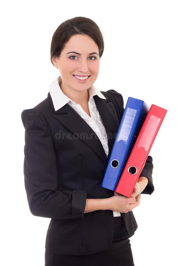 Empresaria en traje negro con las carpetas coloridas aisladas en wh imágenes de archivo libres de regalías
