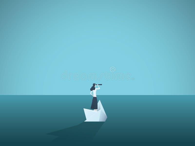 Empresaria en una nave de hundimiento, barco de papel Símbolo de la quiebra, fracaso pero también nuevo principio, superando desa ilustración del vector