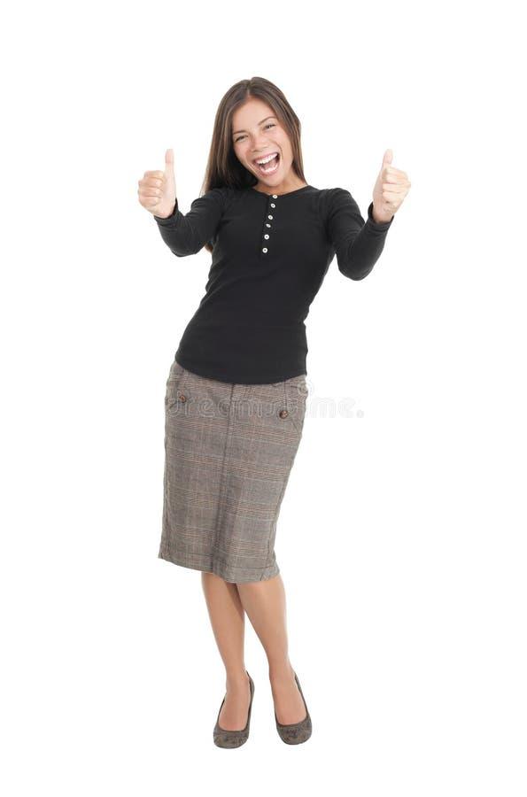 Empresaria feliz aislada dando los pulgares para arriba fotografía de archivo libre de regalías