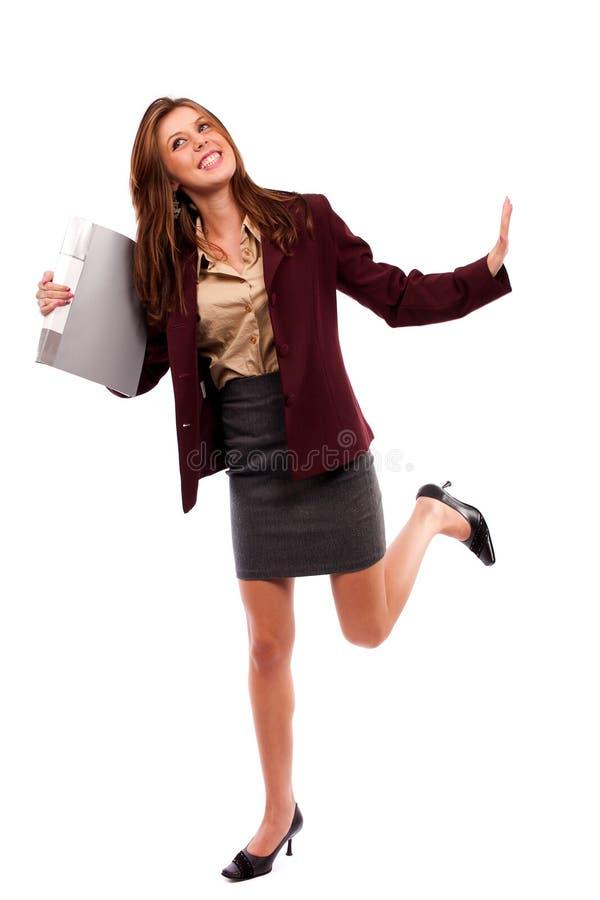 Empresaria feliz aislada en blanco fotografía de archivo libre de regalías