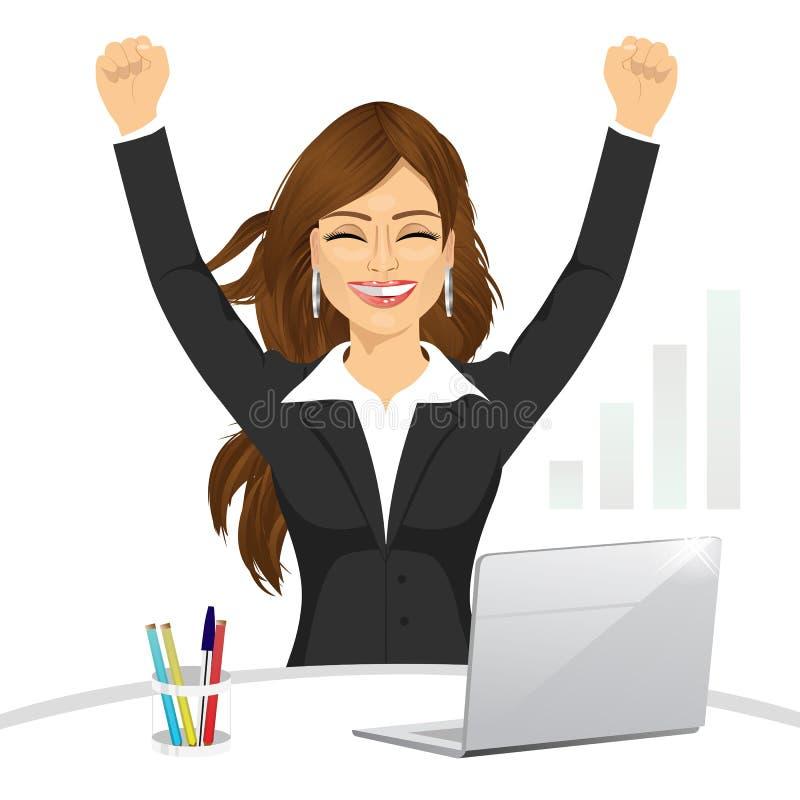 Empresaria feliz atractiva que celebra libre illustration