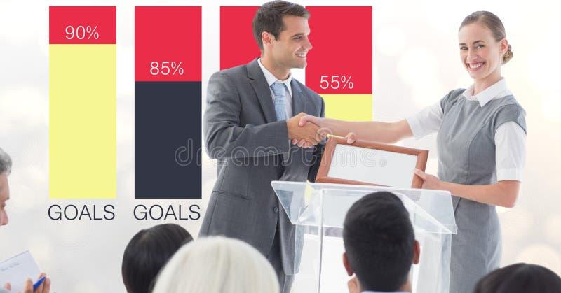 Empresaria feliz que consigue el premio contra gráfico ilustración del vector