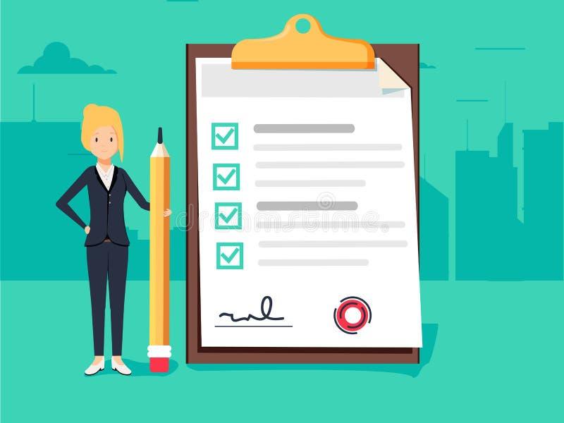 Empresaria feliz que sostiene un lápiz que mira la lista de control terminada en el tablero Concepto del asunto libre illustration