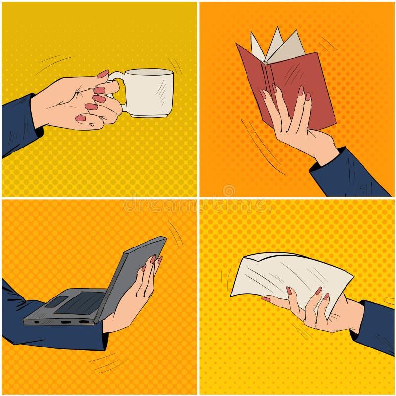 Empresaria Hands Set con la taza de café, libro, ordenador portátil libre illustration