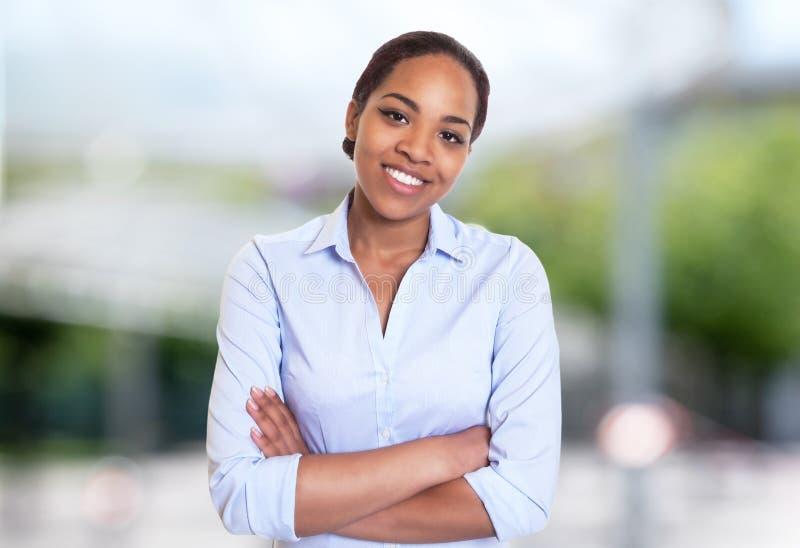 Empresaria hermosa del afroamericano imagen de archivo