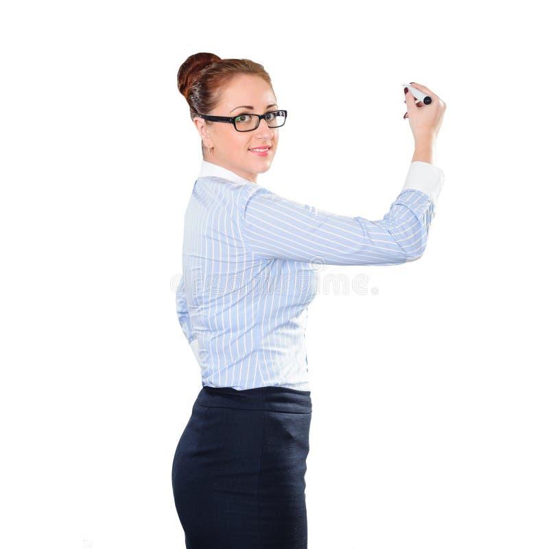 Empresaria hermosa joven con whiteboard de la escritura de la pluma fotografía de archivo