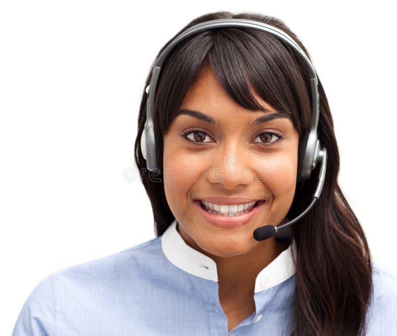 Empresaria india con el auricular imagen de archivo