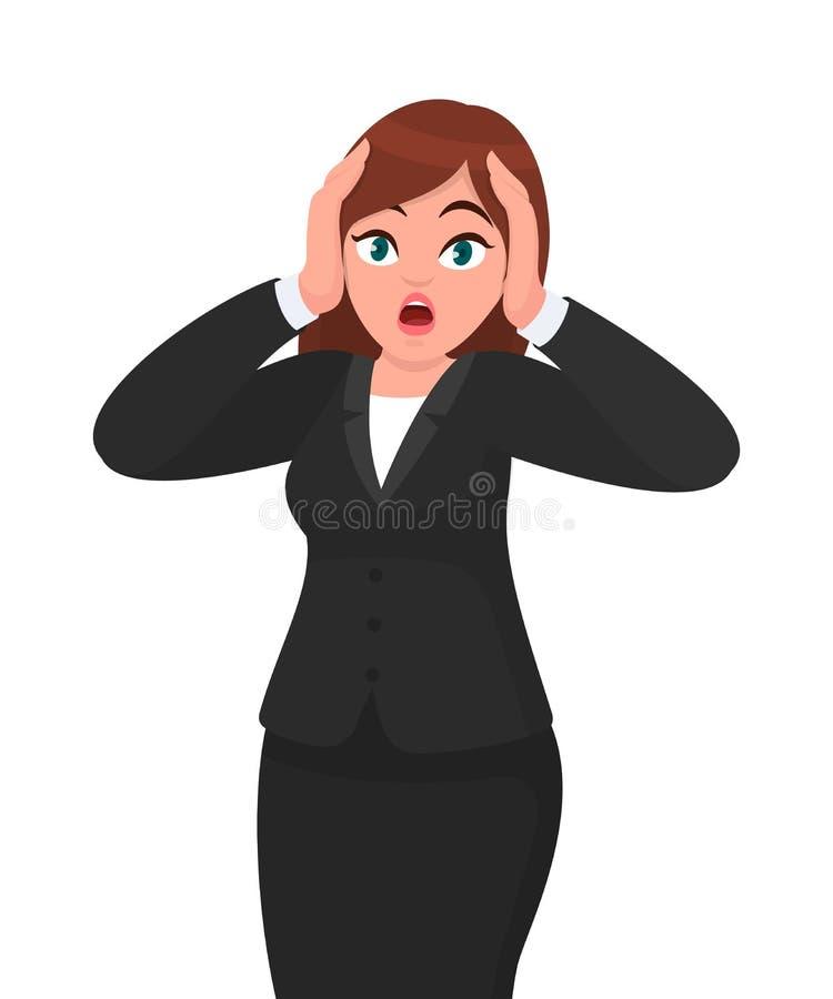 Empresaria infeliz chocada del pánico que lleva a cabo las manos en la cabeza y que grita en la desesperación y la frustración el ilustración del vector