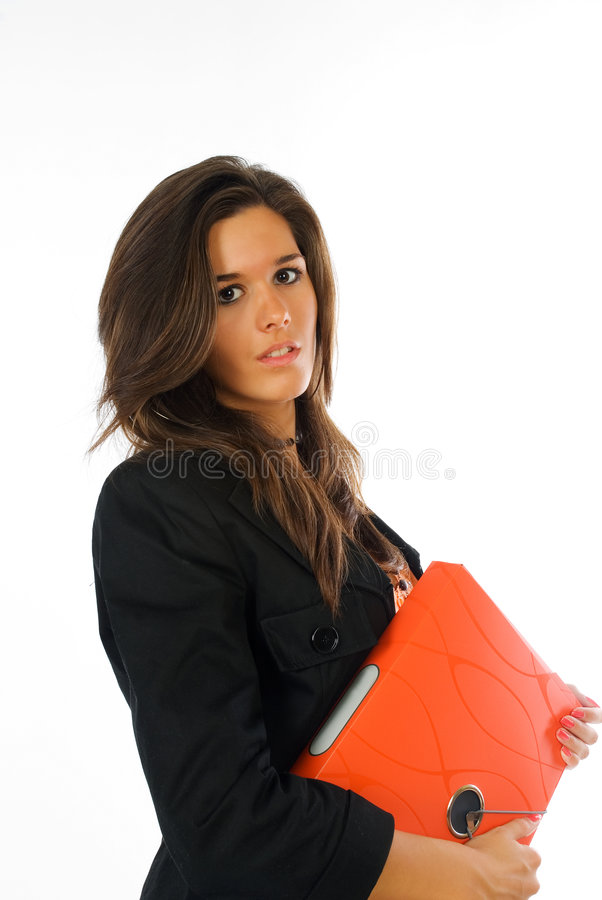 Empresaria joven con la carpeta anaranjada del fichero foto de archivo libre de regalías