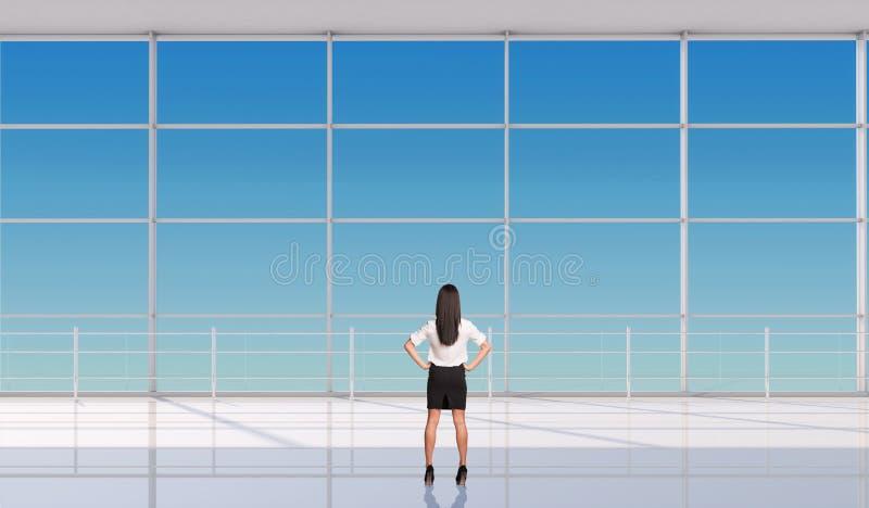 Empresaria joven con las manos en la cintura ilustración del vector