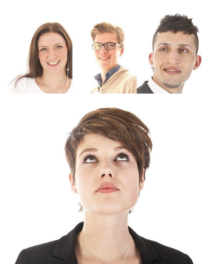 Empresaria joven con los amigos aislados foto de archivo libre de regalías