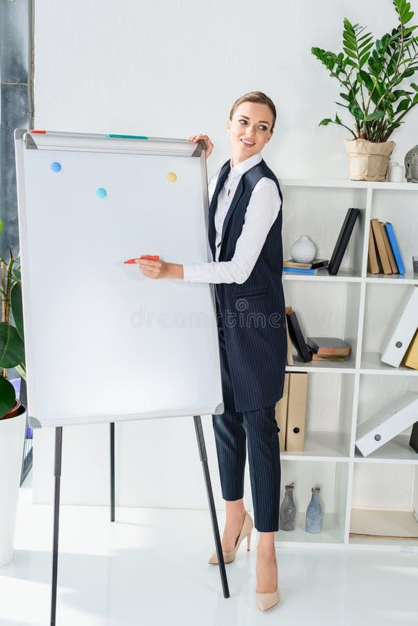 Empresaria joven en la oficina que hace una presentación y que escribe con el marcador imagen de archivo libre de regalías