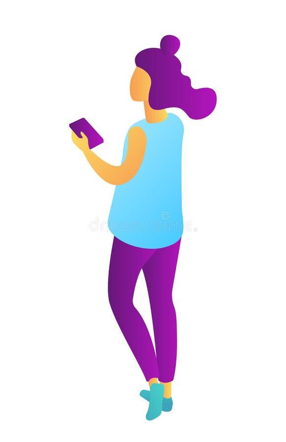 Empresaria joven que celebra el ejemplo isométrico 3D del teléfono móvil stock de ilustración